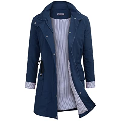 Twinklady Rain Jacket Women Windbreaker Striped Climbing Raincoats Waterproof Lightweight Outdoor Hooded Trench Coats: Clothing