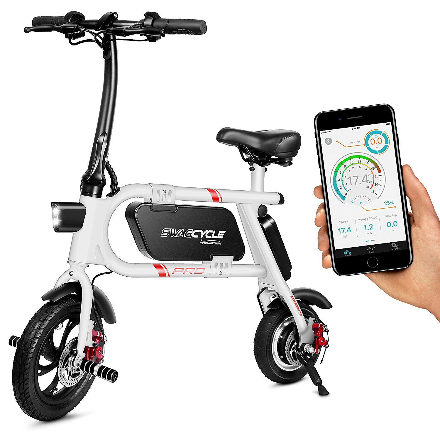 Swagtron Cycle Pro Folding Electric Bike, Pedal Free and App Enabled, 18 mph E Bike with USB Port to Charge on The Go (White) by Swagtron