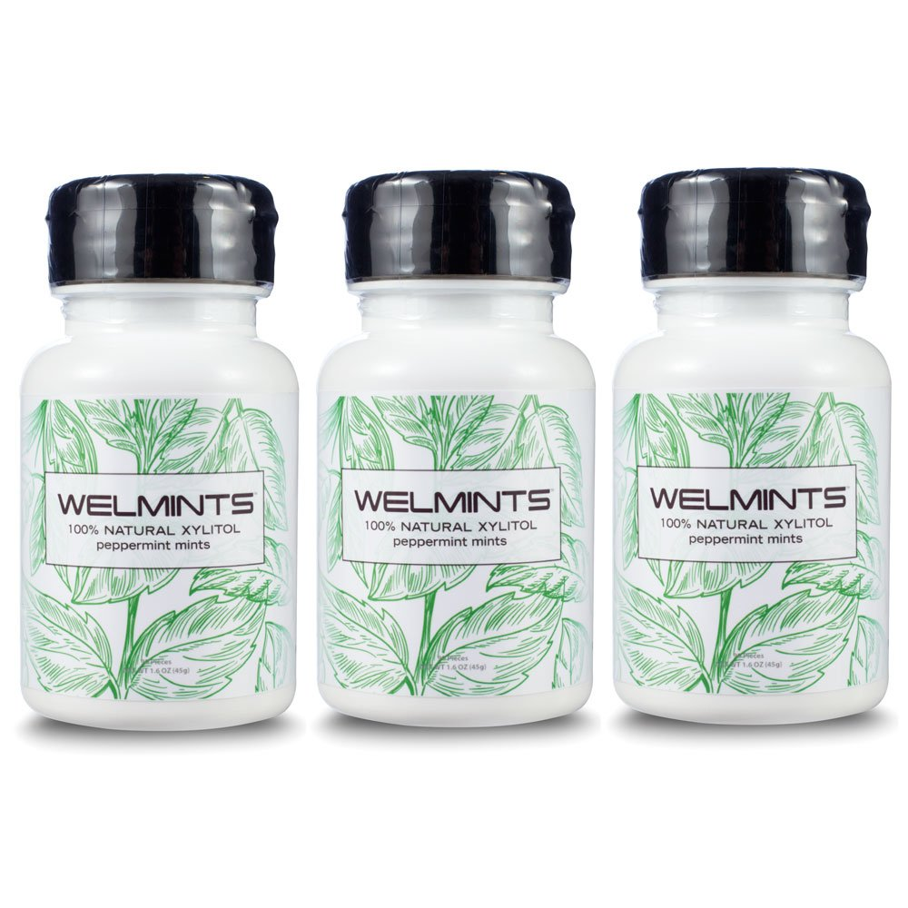 WELdental WELMINT Xylitol Breath Mints Natural Peppermint (Peppermint, 3 Pack)