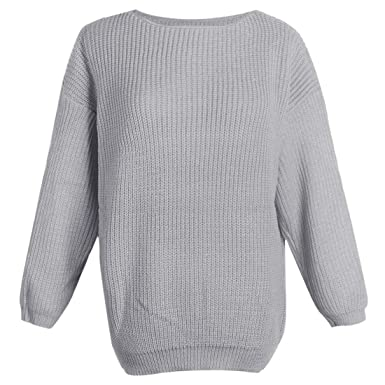 Girls Candy Color Thick Knitted Baggy Sweater Top Jumper Plain Chunky Loose  Casual Sweater Tops Gray 4b04c0a7c9a1