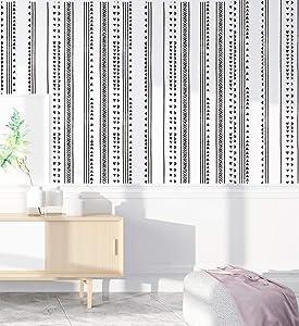 "HaokHome 96021-1 Modern Triangle Peel and Stick Wallpaper Arrow Trellis Black White Vinyl Self Adhesive Contact Paper Decorative 17.7""x 9.8ft"
