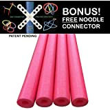 Oodles of Noodles Deluxe Famous Foam Pool Noodles -Made in USA Highest Quality Wholesale 4 PACK Red