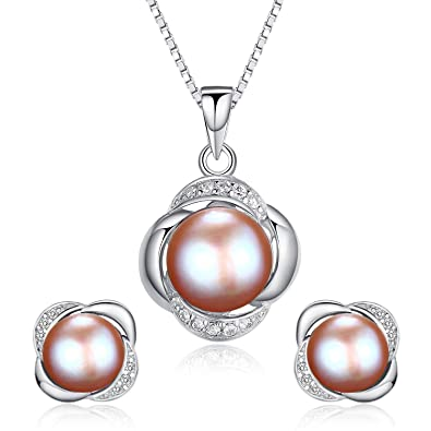 3b57097fb HENGSHENG 925 Sterling Silver Jewellery Set Earring/Necklace Pearl Jewelry  for Women(cpset013)