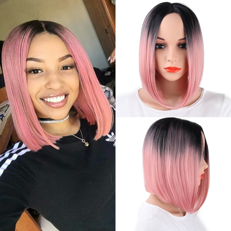 12 Ombre Color Silky Straight Short Wig Cap Synthetic Hair Bob Wigs for Black Women (1B#/PinkCA) Aligogo