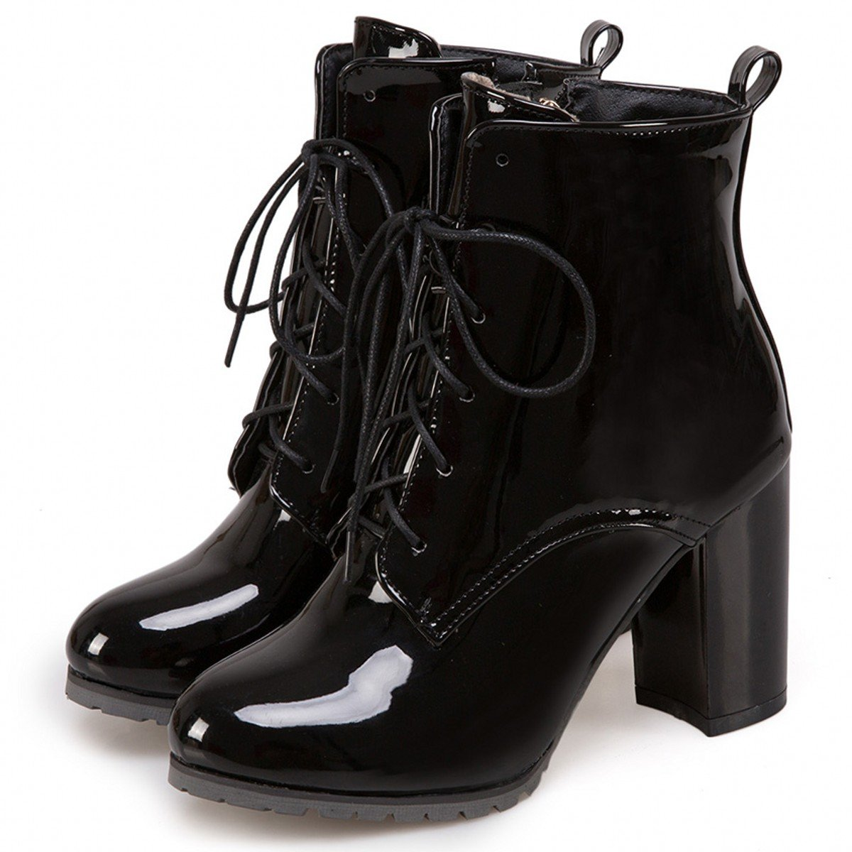 c1d88a711f79f Rongzhi Womens Ankle Boots Chunky Thick Heels Shiny Patent Leather Lace Up  Booties