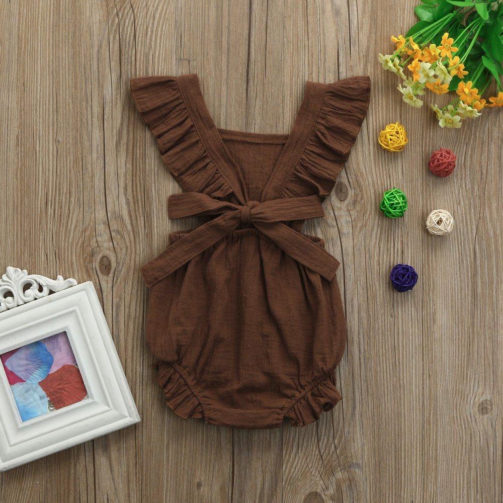 erthome Baby Body Baby M/ädchen R/üschen Strampler Backless Overall Kleidung