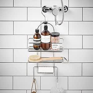 simplywire - Cesta de ducha con 3 estantes para colgar - Estante ...
