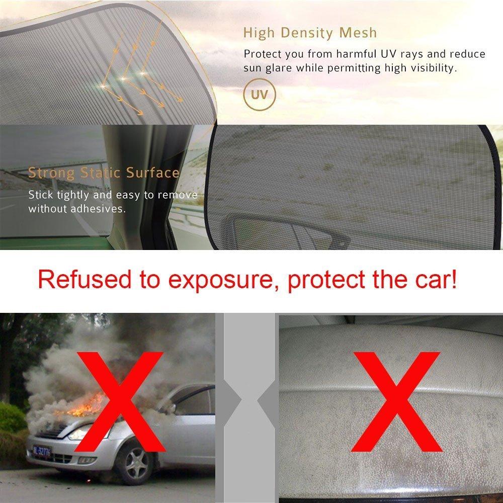 con 10 ventosas compatible con la mayor/ía de autom/óviles Juego de 5 parasoles para coche 4 para las ventanas laterales y 1 para la trasera; protecci/ón contra rayos UV calor y luz solar