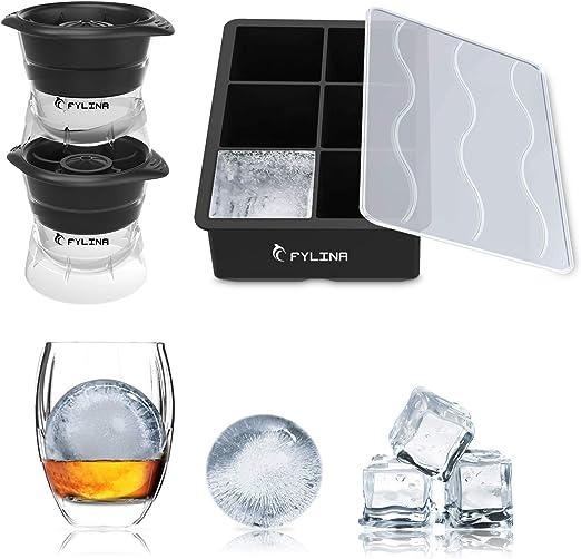 FYLINA - Bandeja para cubitos de hielo (3 unidades, silicona, sin ...