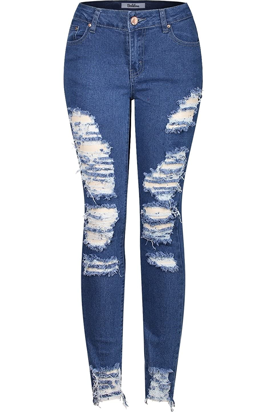 2LUV Women's Trendy Distressed 5 Pocket Denim Skinny Jeans