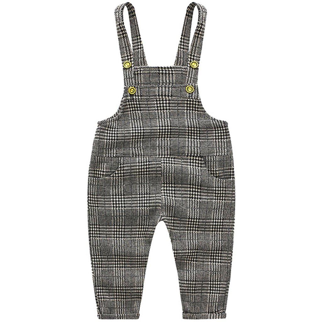 Bebé Pantalones de Peto Pantalones de punto Niños Niñas Overalls A rayas Pantalones Largo Ajustable 9-12 Meses Ltd