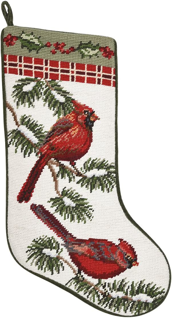 Forest Cardinals Needlepoint Stocking