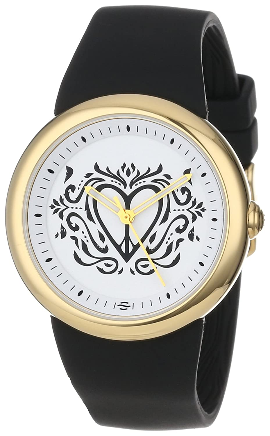 PeaceLove Unisex F36G-PL-B Round Gold Tone Black Silicone Strap and Clark Art Dial Watch