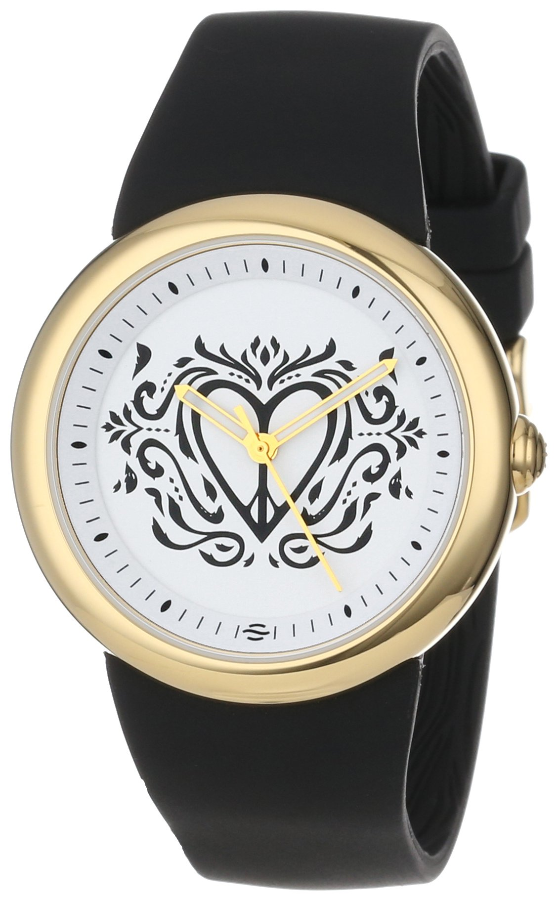 PeaceLove Unisex F36G-PL-B  Round Gold Tone Black Silicone Strap and ''Clark'' Art Dial Watch