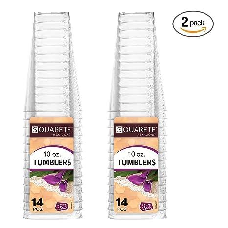squarete hexágonos transparente plástico duro cuadrado Fiesta Vasos/tazas 10oz.-300 ml.
