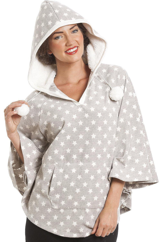 Camille Womens Ladies Grey Star Print Hooded Fleece Poncho