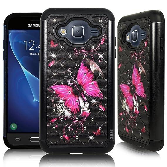 [ZASE] Galaxy J3 2016 Case, J3V, Galaxy Express Prime, Galaxy Sol, Galaxy  Amp Prime Case Design [Drop Protection Shock Resistant] Crystal Jewel Bling