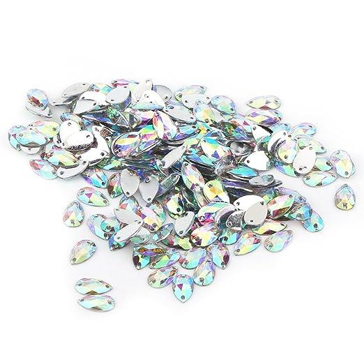 300 Pezzi AB Colore Gemme di Cristallo Acrilico Cucire Gemme Sfaccettate Gemme di Strass Flatback con Forme Miste per Cucire su Vestiti Borse Scarpe Gioielli Craft DIY Decorazioni