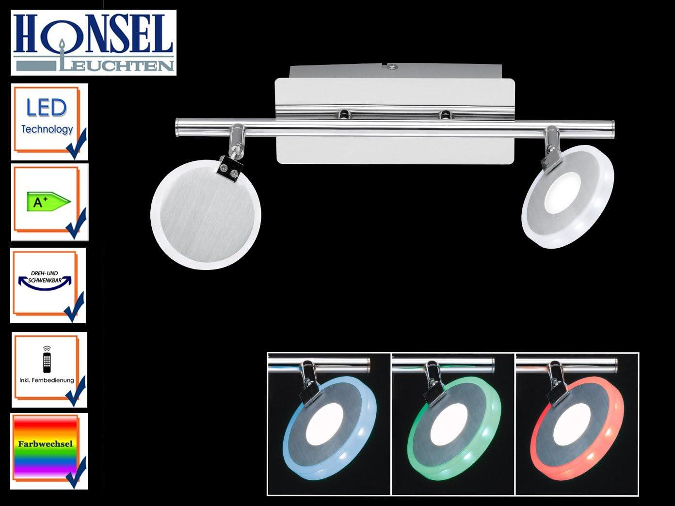 Honsel 2de flammiger LED 767702540000Tonic RGBW, Mando a Distancia, Cambio de Color, Foco orientable.