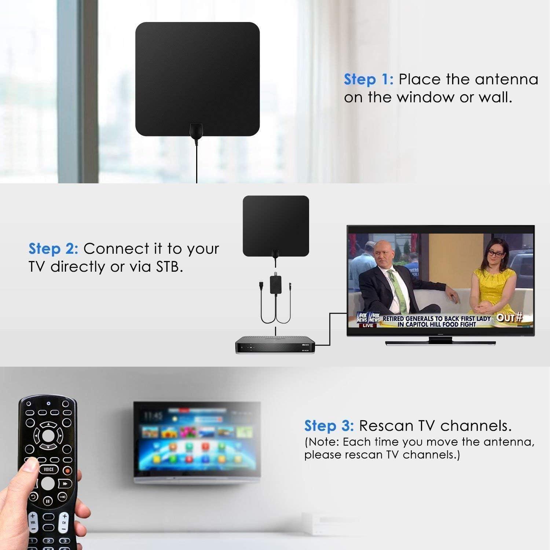 Antena de TV HD, TV ante Antena de TV DVB-T 50 millas de ...