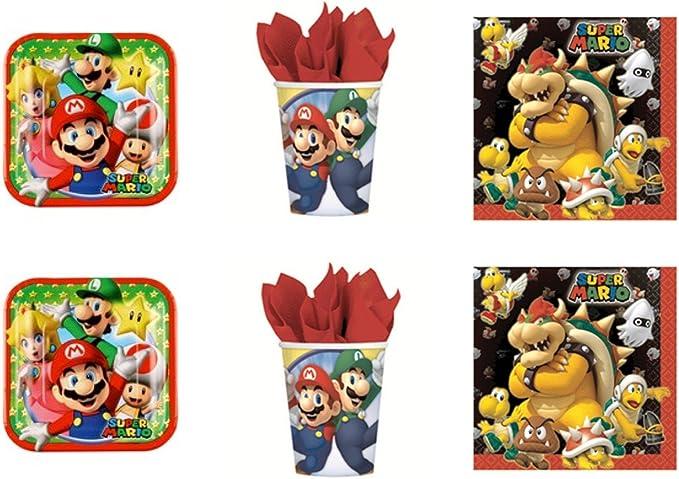 Super Mario Bros y Luigi - Para fiesta – Kit N°3 cdc- (24 platos, 24 vasos, 40 servilletas): Amazon.es: Juguetes y juegos