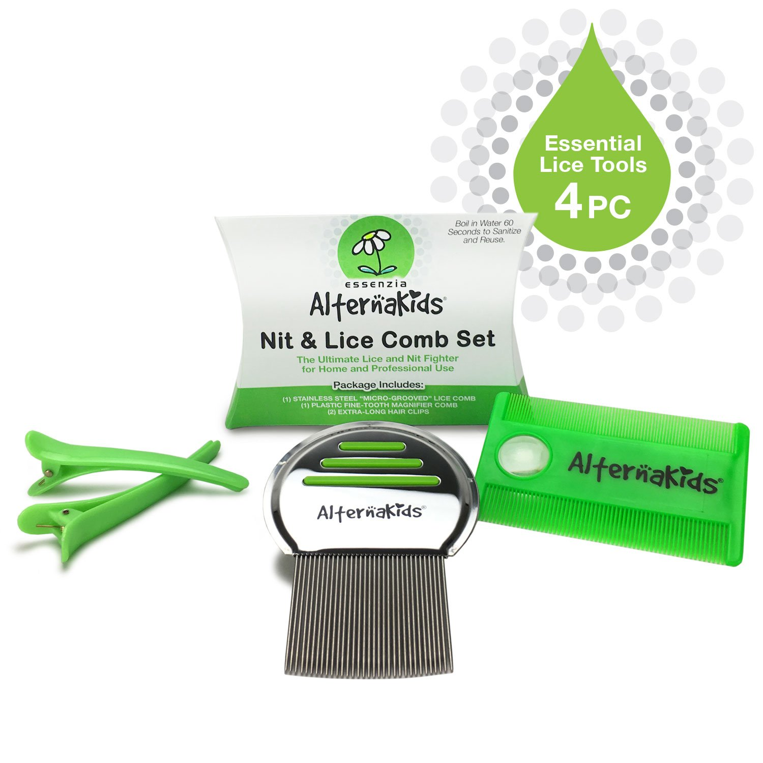 Head Lice Comb Set by AlternaKids - Professional Stainless Steel Metal & Extra Fine Toothed to Remove Super Lice and Nits from Hair