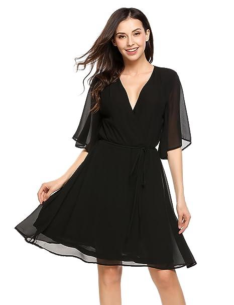 9ef770c3e1c6 Zeagoo Women Chiffon Flare Sleeve Wrap V Neck Pleated Skater Dress Black S