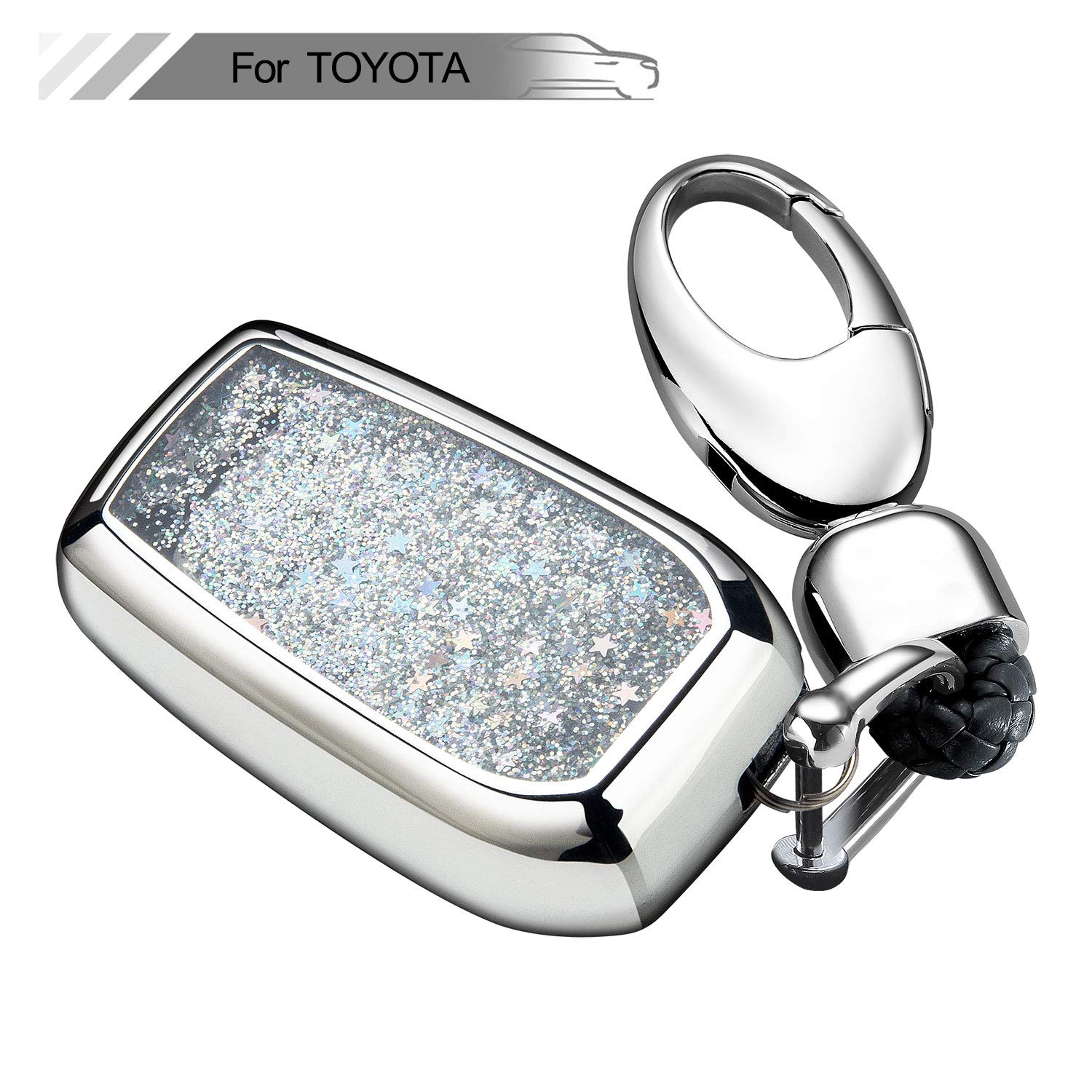 2ff5fa562476 Key Fob Cover with Glitter Liquid Quicksand,Flowing Bling Sparkle Key Fob  Case Fit Keyless Entry of Toyota RAV4 Crown Hyun Prado Camry Prius Corolla  New ...