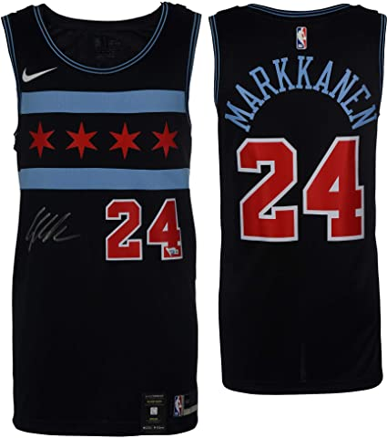 2ad1e7ddd Image Unavailable. Image not available for. Color  Lauri Markkanen Chicago  Bulls Autographed Nike City Edition Swingman Jersey ...
