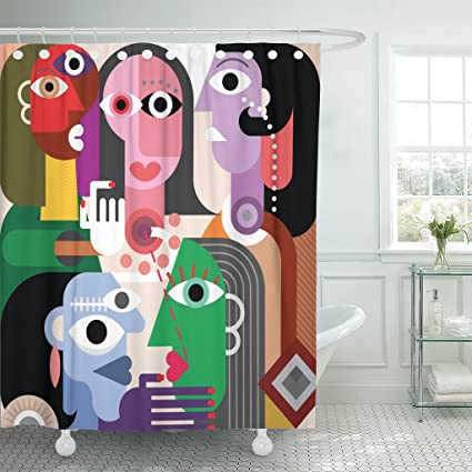 Amazon Emvency Shower Curtain Generation Large Family Abstract
