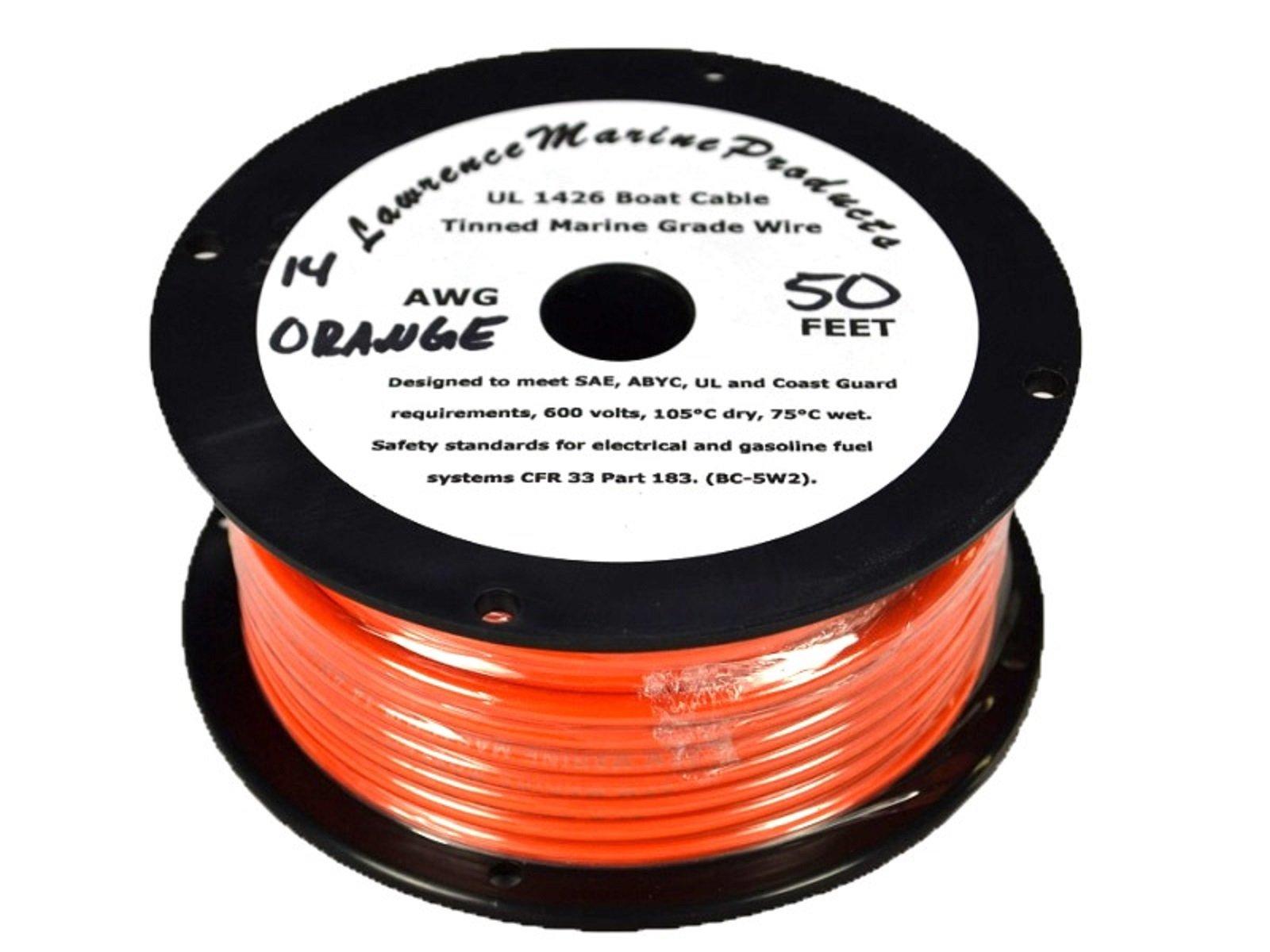 14 AWG Tinned Marine Primary Wire, Orange, 50 Feet