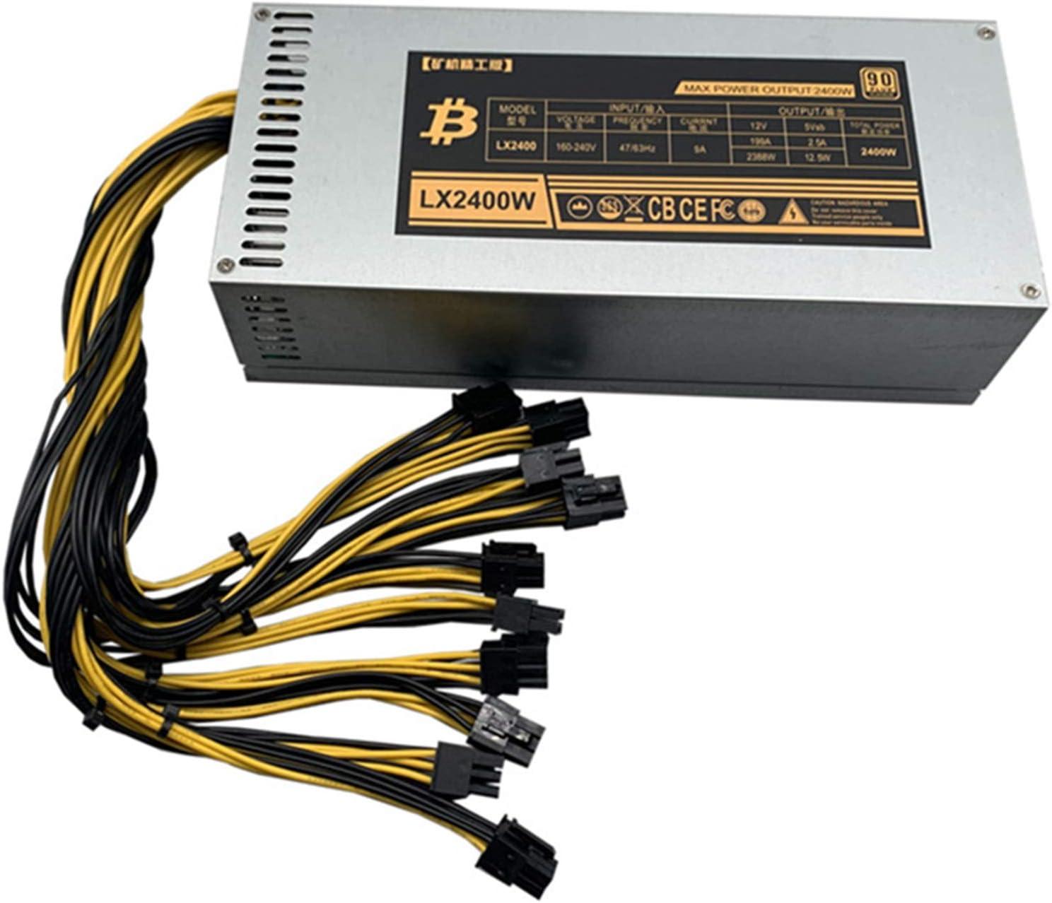 Espeedy Fuente de alimentación ATX 1600W,1600W Bitcoin Mining Machine ATX Fuente de alimentación para BTC Eth Antminer S7 S9 D3 R4 Nuevo