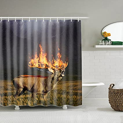 Amazon ALDECOR Moose Shower Curtain