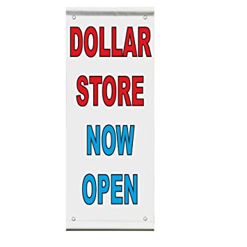 Dollar Store Now Open Red Blue Double Sided Vertical Pole Banner Sign 30 In X 60