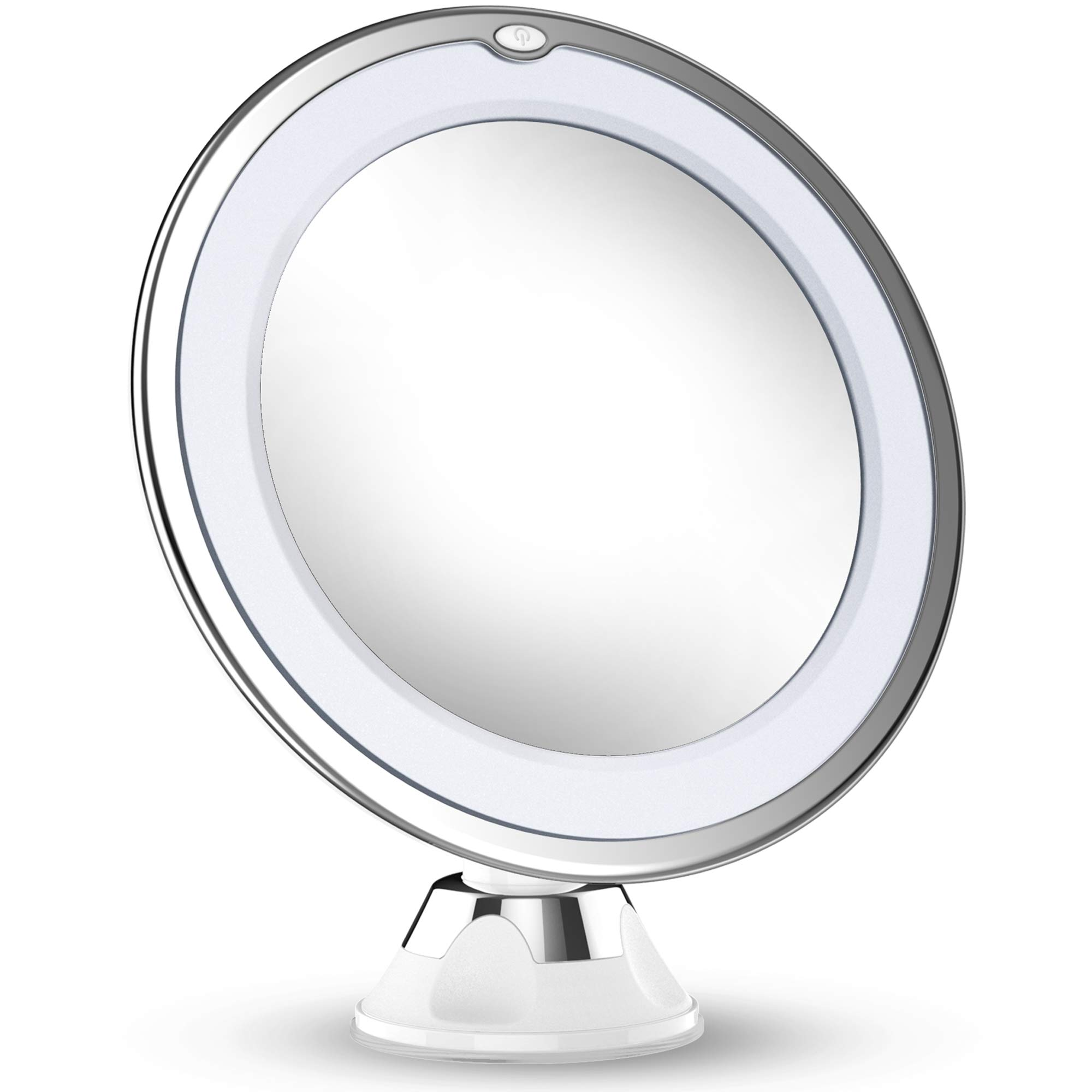 Updated 2019 Version 10X Magnifying Makeup Vanity Mirror With Lights, LED Lighted Portable Hand Cosmetic Magnification Light up Mirrors for Home Tabletop Bathroom Shower Travel by Vimdiff