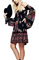Women's Floral Printed Off the Shoulder Long Sleeve Casual Short Party Dress