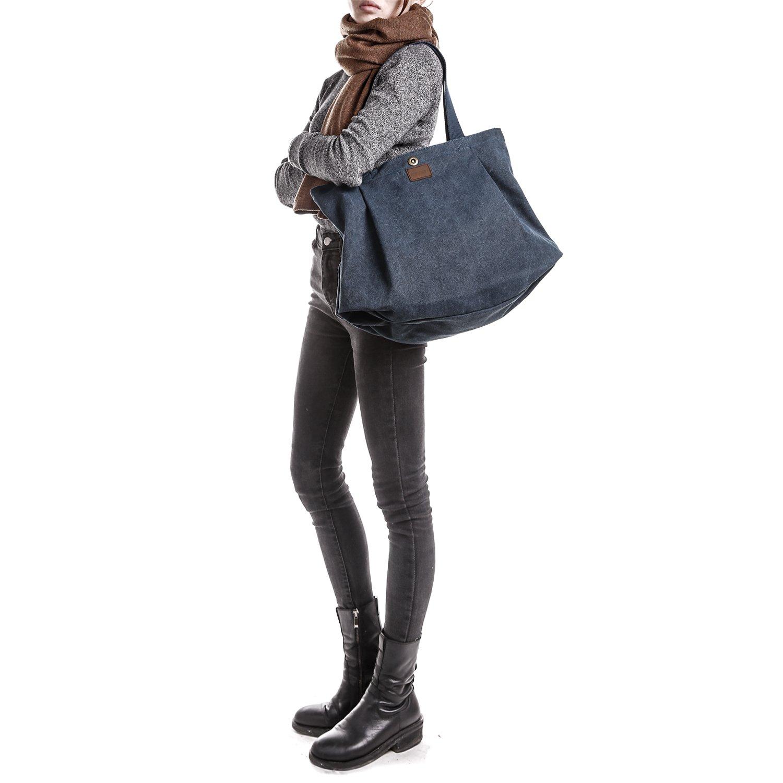 Gro/ß 1 Schwarz SMRITI Canvas Shopper Tasche Schultertasche f/ür Schule Reisen Arbeit und Eink/äufe