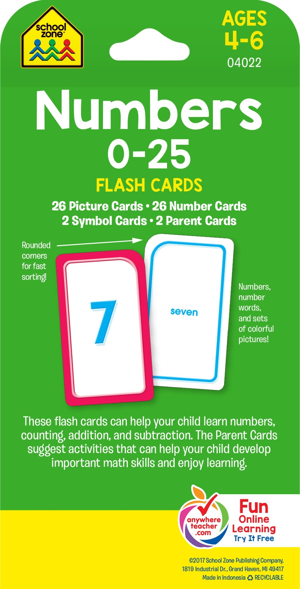 Numbers 0-25 Flash Cards: School Zone Publishing Company Staff ...