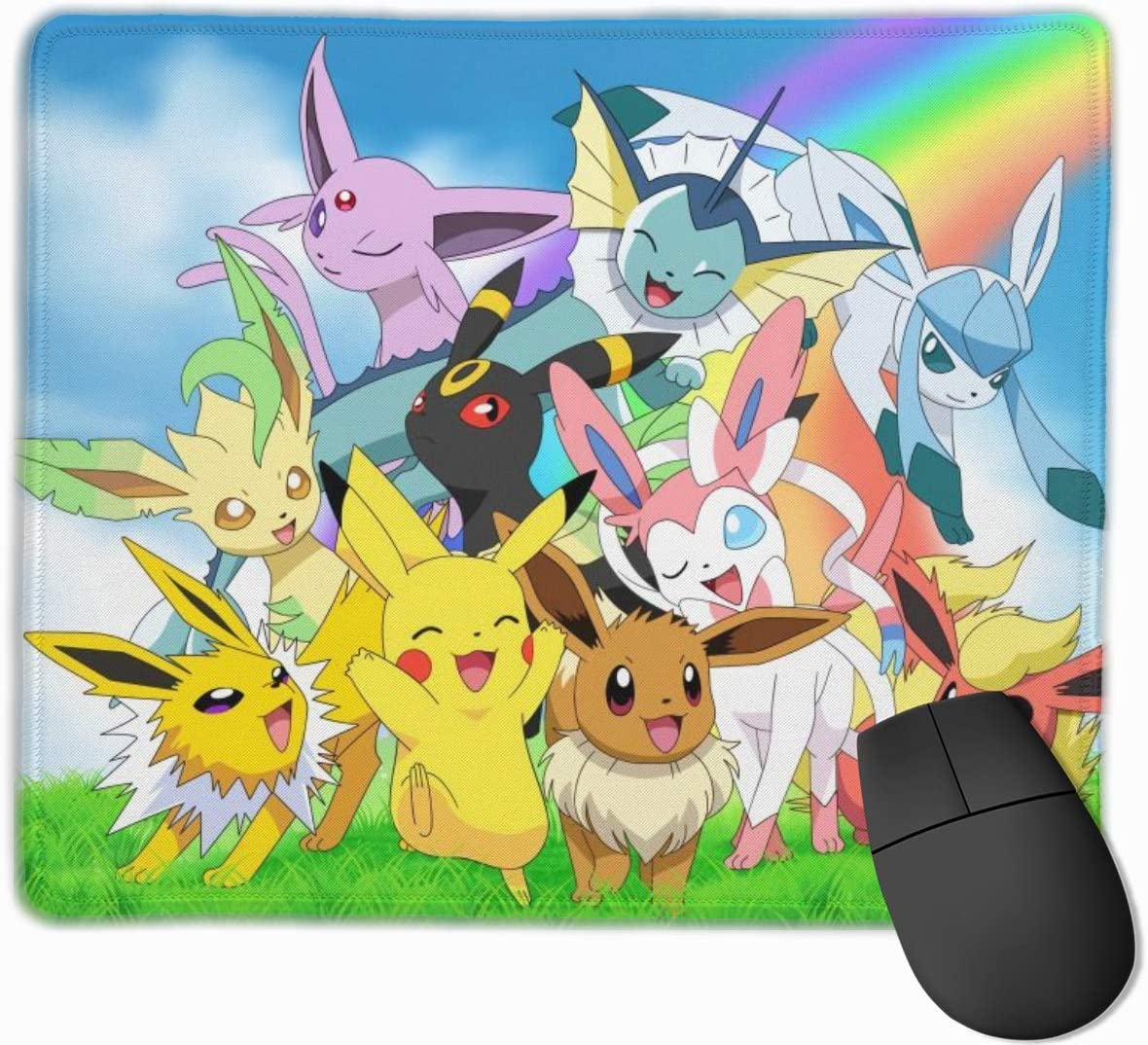 Men Mouse Pad Japanese Anime Pikachu Personalized Non-Slip Mouse Mat Cool Desk Pad Rubber Base Desk Mat for Office,Computer,Professional Esports