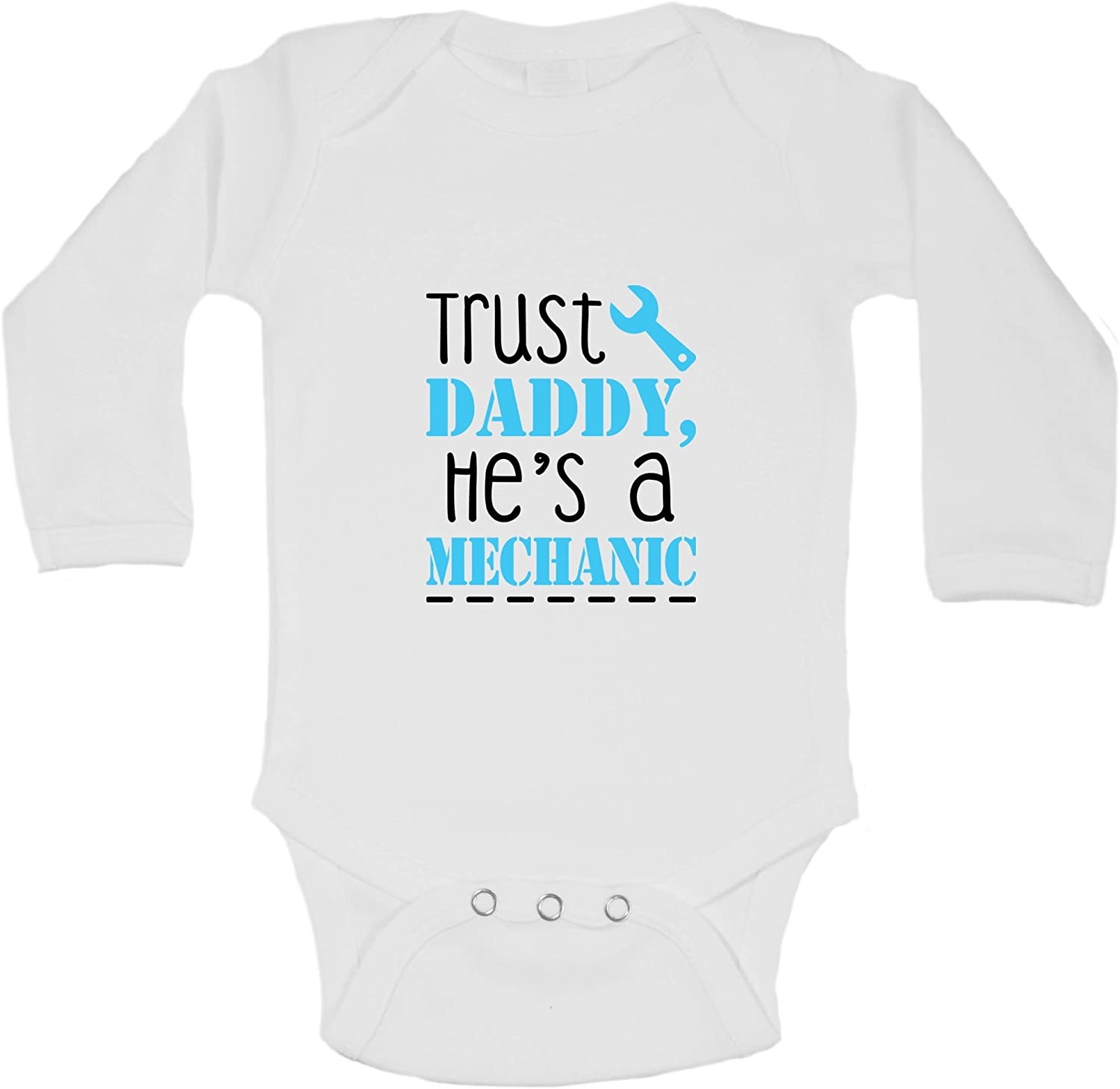 Gift for Father Kids Bodysuit Trust Daddy Hes A Mechanic Cute Boys Onesie