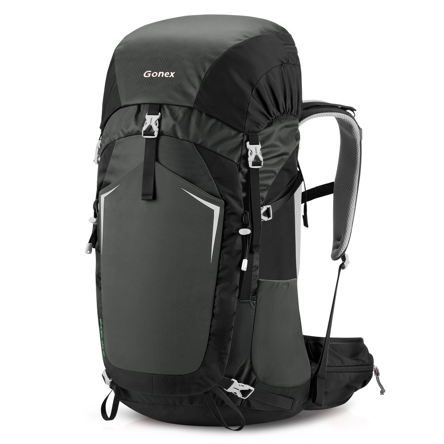 Gonex 55L Hiking Backpack Camping Outdoor Trekking Daypack Wolf Warriors Sport Bag Rain Cover Included Black