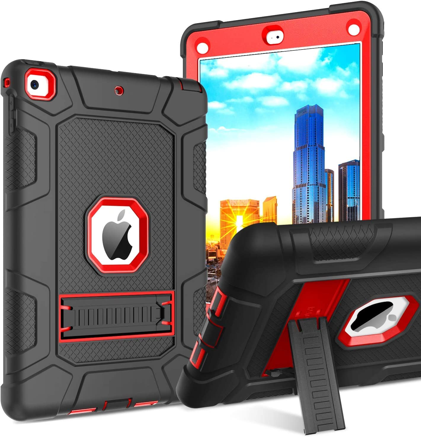 iPad 6th Generation Case, iPad 5th Gen Case, BENTOBEN 3 in 1 Heavy Duty Hybrid Soft Silicone Hard Plastic Cover with Kickstand Rugged Shockproof Protective Case for iPad 2018/2017, Black & Red