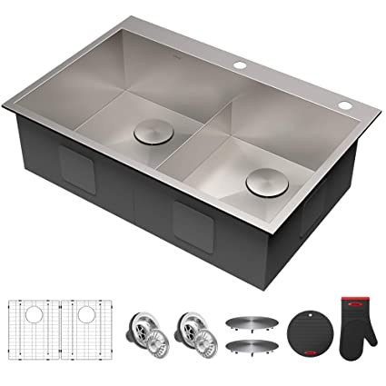 e2e828417c Kraus KP1TD33S-2 Pax Kitchen Sink Double Bowl, 33 Inch, Low Divider 33