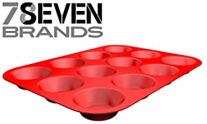 12 Slot Silicone Muffin Pan. HIGH END KITCHEN WARE. Red. SUPER VALUE!