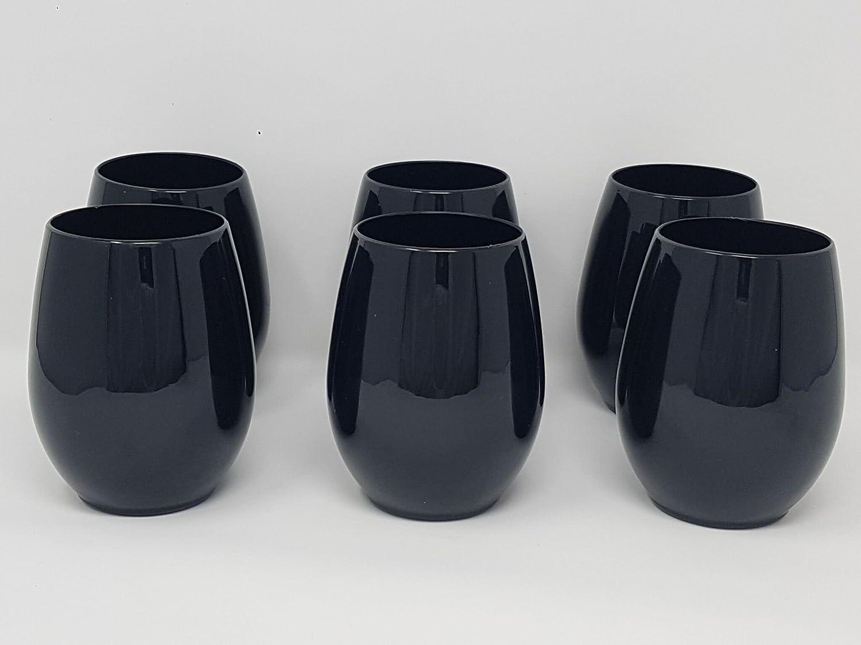 Lot de 6verres sans pied plastique/verres à vin–Noir–340, 2gram (340ml) Fineline