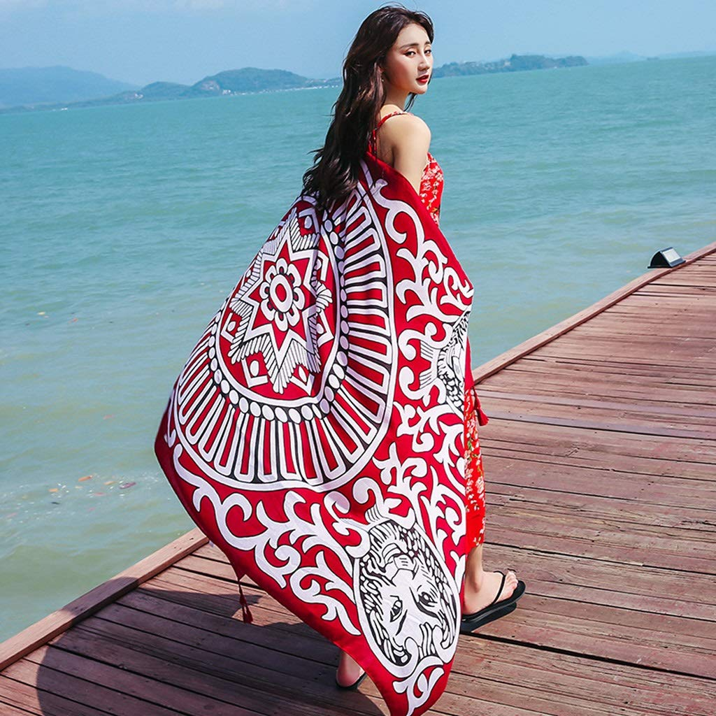 Ethnic Style Cotton and Linen Scarves Ladies Oversized Travel Shawl Long Retro Tassel Pendant Beach Towel Sunscreen Warm Multi-Design (Edition : G)