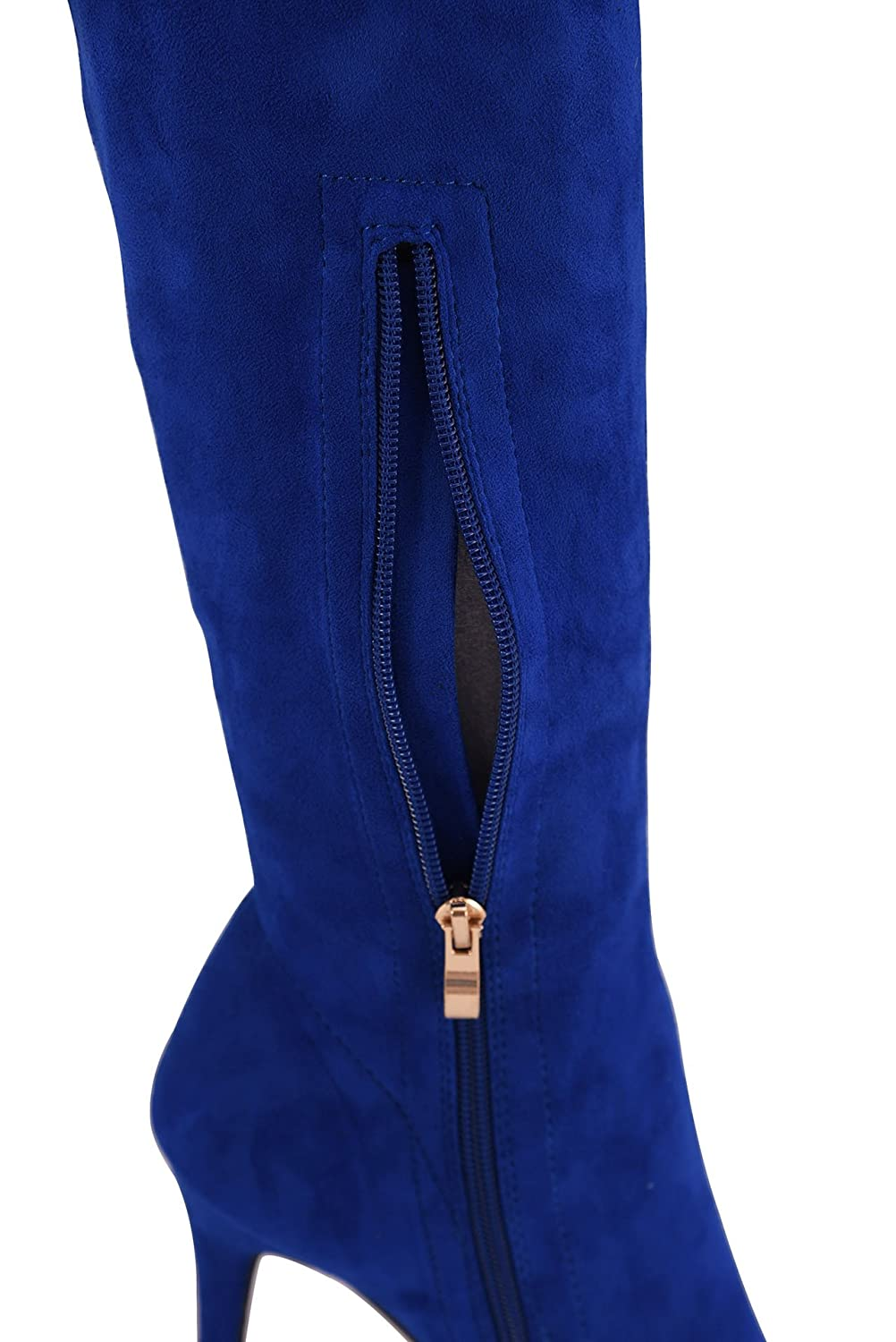 CAMSSOO Women's Thigh High Stretch Boots Side Zipper Pointy Toe Stiletto Heel Knee High Boots B07DX4GZZQ US7/EUR37|Royal Blue Velveteen
