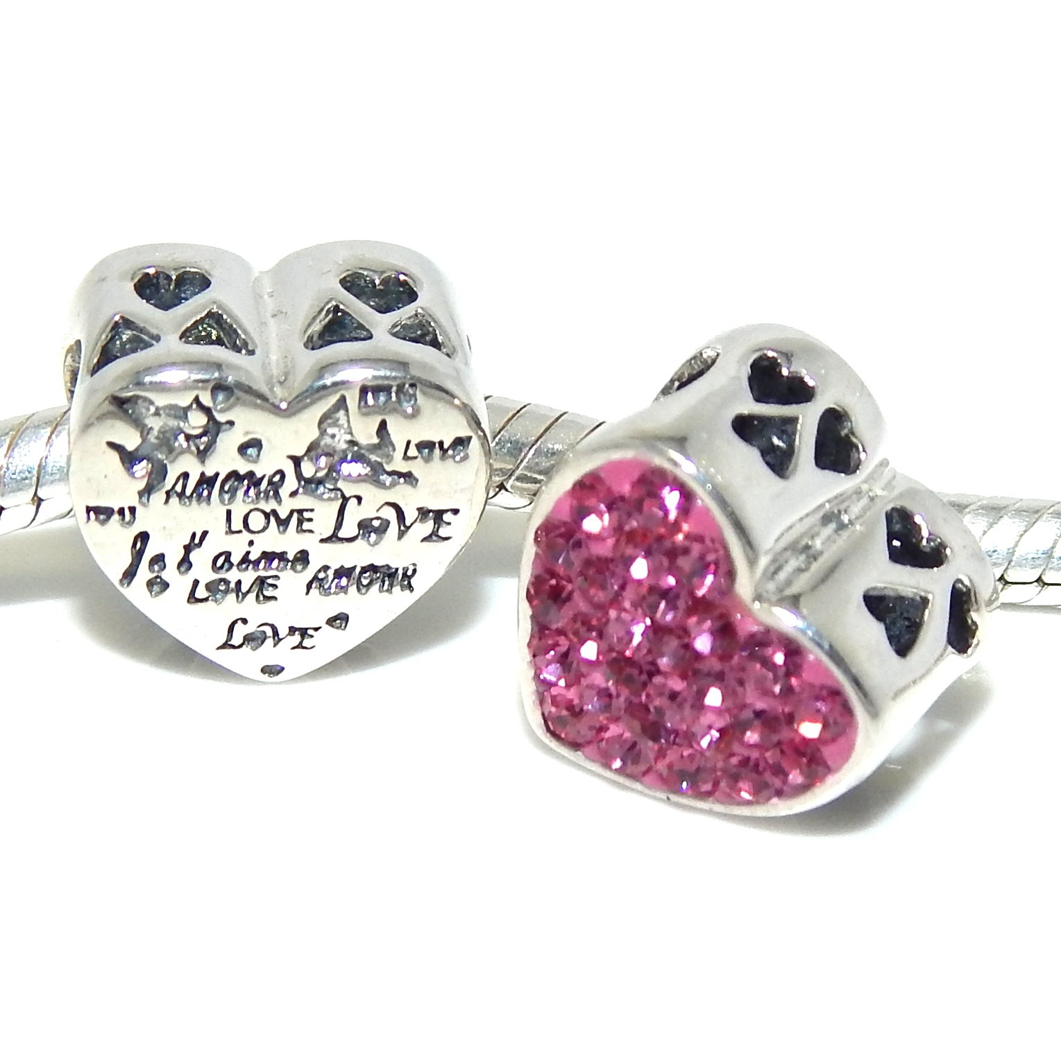 Pro Jewelry .925 Sterling Silver ''Amour Love w/ Pink Crystals'' Heart Charm Bead 4198