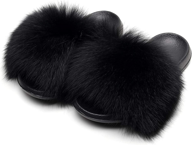 HONGTEYA Real Fox Fur Slides Slippers