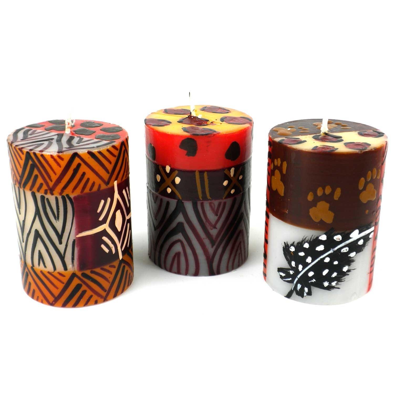 Global Crafts Set of Three Boxed Hand-Painted Candles - Uzima Design - Nobunto Candles